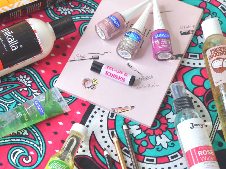 Flat lay of affordable Kenyan cosmetics and beauty products